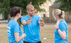 outdoor fitness class instructor training clients