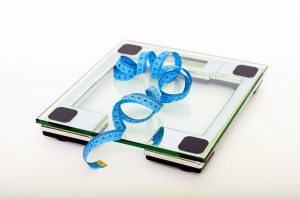 weighing scale with tape measure